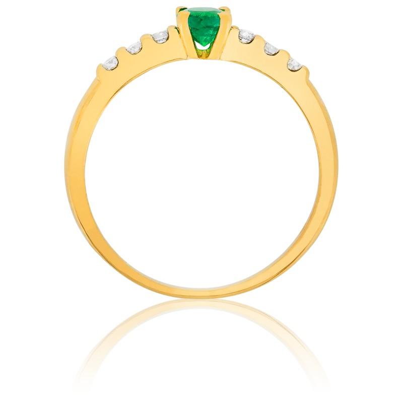 de2f0a6ed152 Anillo de compromiso Esmeralda Oro y Diamantes - Ocarat