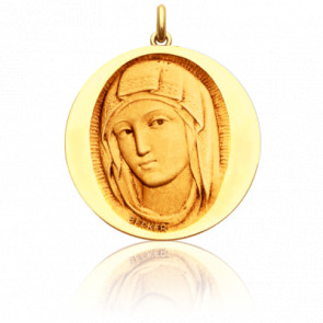Medalla Redonda Virgen de Siena Oro amarillo 18K
