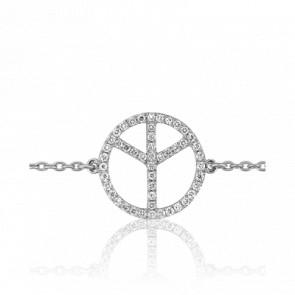 Pulsera Oro Blanco y Diamantes Peace & Love
