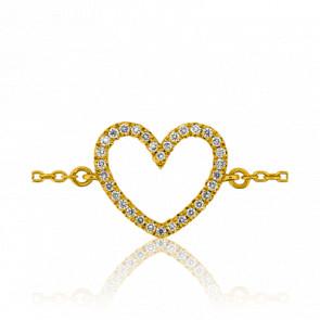 Pulsera Oro Amarillo Corazón