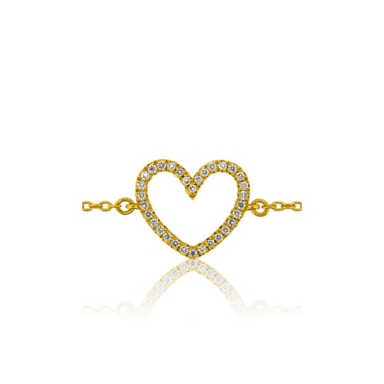 f8c7ddffbbcc Pulsera de Oro Amarillo 18kt Corazón con diamante - Ocarat