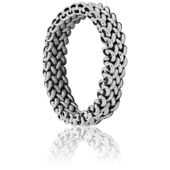 e0fb08b56710 Elegante anillo de Cadena Oro Blanco 18k Angevine - Ocarat