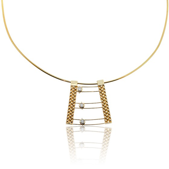 6d63c6e69528 Collar de oro amarillo y diamantes móviles - Angevine - Ocarat