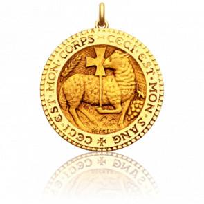 Medalla redonda cordero místico