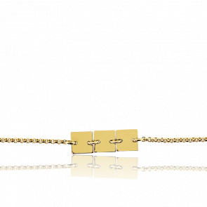 Pulsera Cadena Rolo y 3 Placas Cuadradas Oro Amarillo