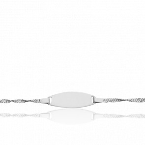 Pulsera con placa cadena cuerda Singapour, Oro Blanco