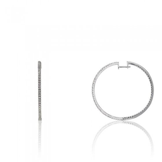 94849116ce3f Pendientes de aro de oro blanco y diamantes-Divine - Ocarat