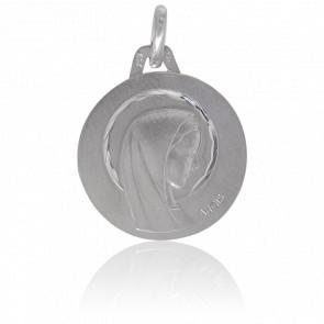 Medalla Virgen con Aureola Oro Blanco