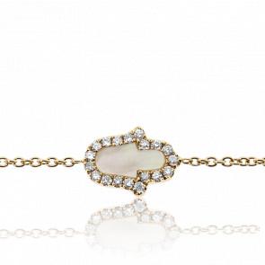 Pulsera Hamsa Nácar & Diamantes