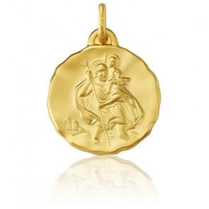 Medalla San Cristóbal de oro amarillo