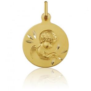 Medalla redonda Ángel de oro amarillo
