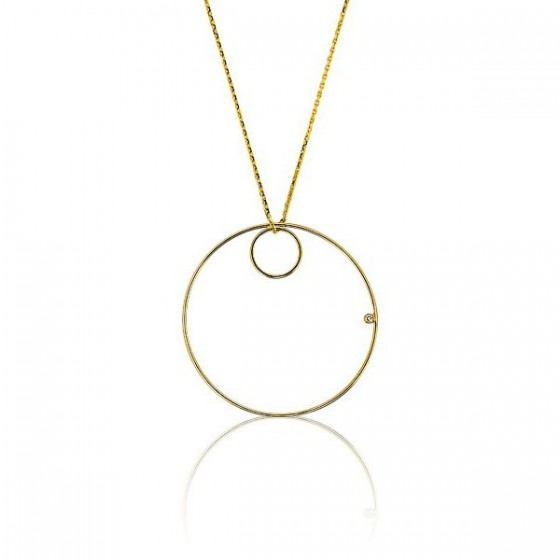 2819bce44de1 Collar para mujer de Oro 18k y Diamante Doble Círculo - Ocarat