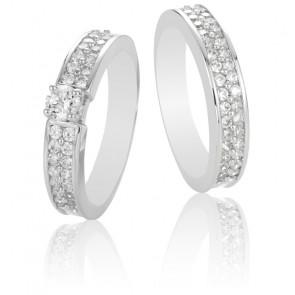 Dúo Alianza Eurídice & Solitario Orfeo Oro Blanco18k y Diamantes G/VS