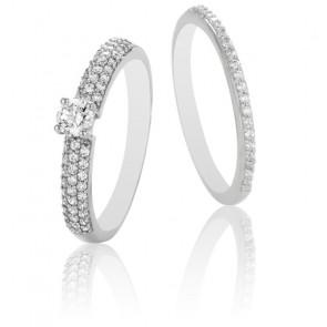Dúo Alianza Roxane & Solitario Cyrano Oro Blanco 9 cts y Diamantes G/SI