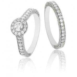 Dúo Alianza Shirin & Solitario Farhad Oro 9k y Diamantes G/SI