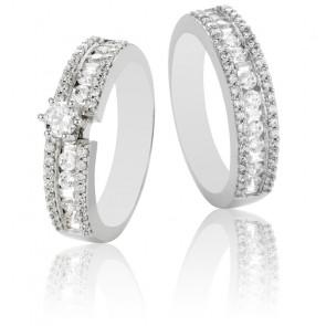 Dúo Romeo & Julieta de Solitario y Alianza, Oro 9k y Diamantes G/SI