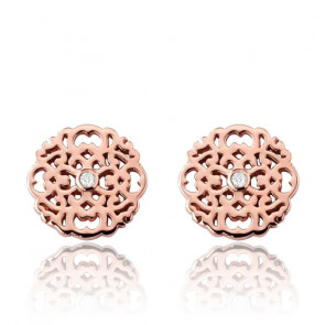 Pendientes Mini Encaje Plata rosada & Diamantes