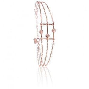 Pulsera Ábaco Plata Oro Rosa & Diamantes