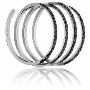 Anillo espiral de Oro blanco y diamantes negros