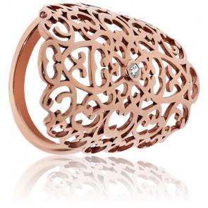 Anillo Gran Encaje Bañado en Oro Rosa & Diamante