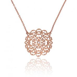 Collar Encaje Mediano Bañado en Oro rosa & Diamante