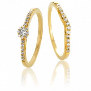 Dúo Tristán e Isolda Solitario & Alianza Oro Amarillo y Diamantes G/SI