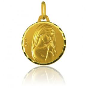 Medalla Virgen Oro amarillo facetado