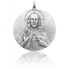 Medalla Sagrado Corazón Oro Blanco 18k