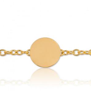 Pulsera Placa Luna Llena Grabable Oro Amarillo
