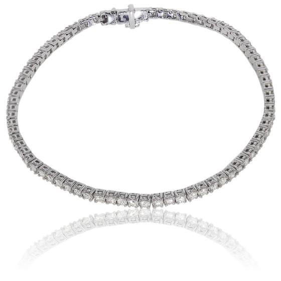 Pulsera De Oro Blanco Y Diamantes De Lujo De Divine Ocarat