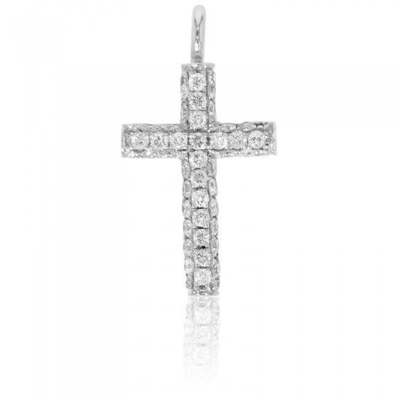 Cruz Diamantes y Oro blanco