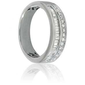 Alianza Naida Oro blanco y Diamantes, 4mm