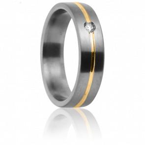 Alianza Cottos Titanio,Oro amarillo y Diamante