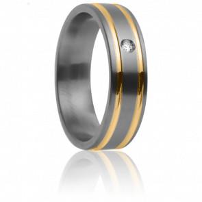Alianza Théia Titanio, Oro amarillo y Diamante– Aurodesign