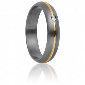 Alianza Rhésos Titanio, Oro amarillo y Diamante– Aurodesign