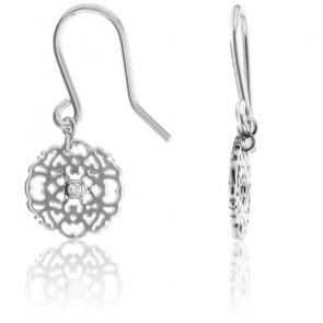 Pendientes Mini Encaje Plata & Diamantes