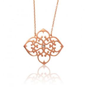 Collar Trébol Bañado en Oro Rosa & Diamante