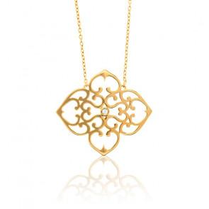 Collar Trébol Bañado en Oro Amarillo & Diamante