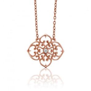 Collar Mini Trébol Or rosa Chapado & Diamante