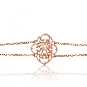 Pulsera Trébol Bañada en Oro Rosa & Diamante