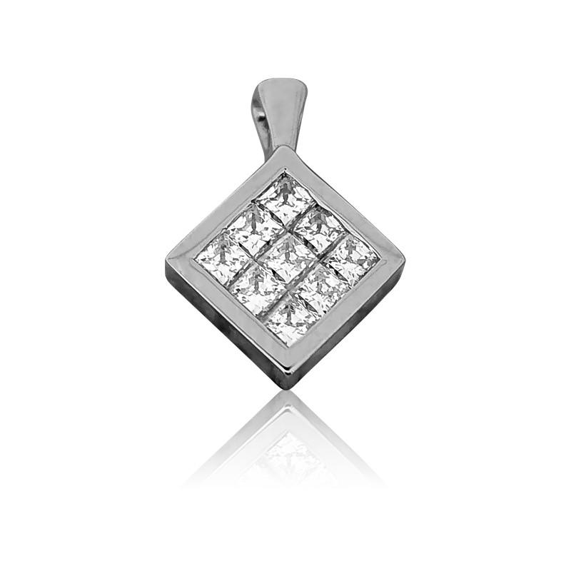 Colgante Rombo Oro Blanco 18kt Y Diamantes Allegoria
