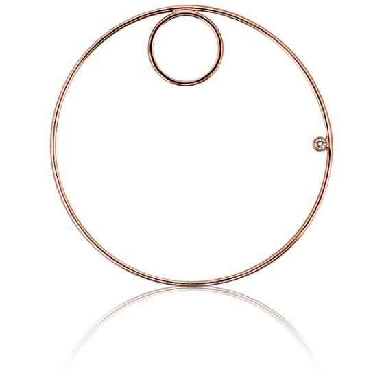 afde51c5bf5b Colgante doble círculo Oro rosa y diamante Ø 48mm - Ocarat