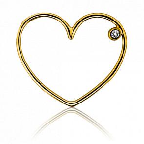 Colgante corazón oro amarillo y diamante