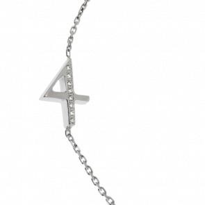 """Pulsera Número """"4"""" Oro Blanco y Diamantes"""