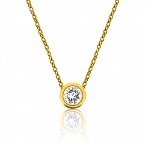 Collar Oro Amarillo Diamante Solitario 0,30 ct