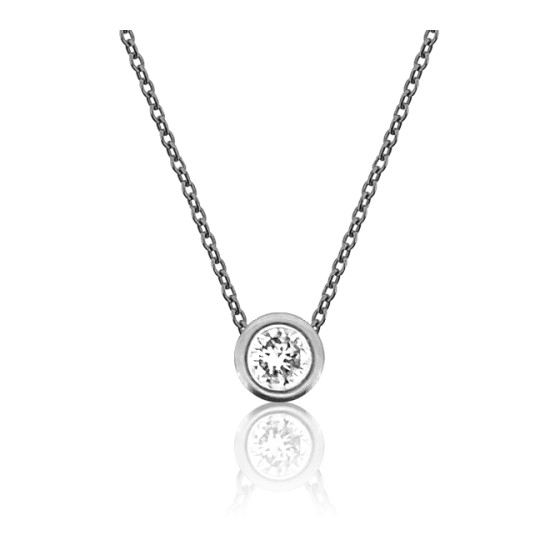 5f4c5c412737 Collar de oro blanco 18k y Diamante brillante 0