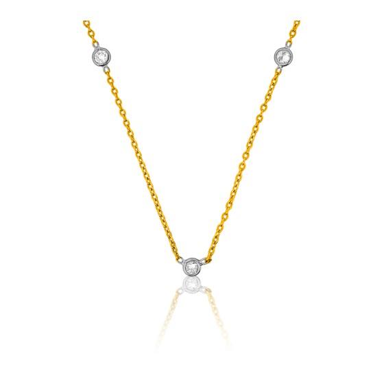 92e6191bf33f Collar oro amarillo y diamantes chatón - Ocarat