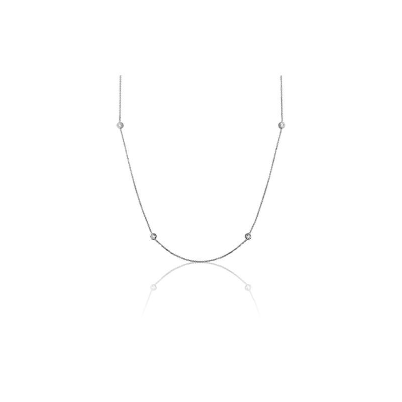 dd9ac24f30c0 Collar de oro blanco 6 diamantes chatón - Allegoria - Ocarat